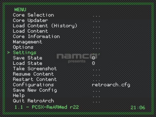 pi emulation - Retro arch menu