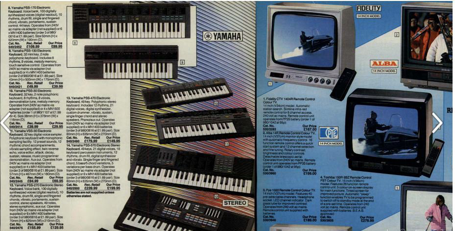 Keyboards containing the YM2413 - Argos Winter 1987